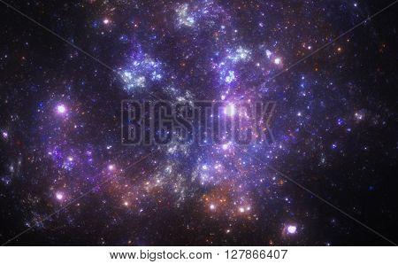 Dark deep space with nebula and stars.