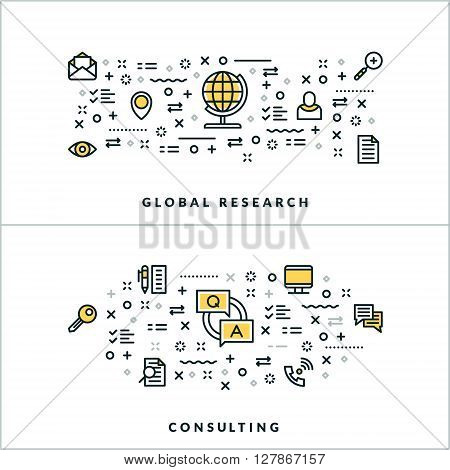 Vector Thin Line Global Research and Consulting Concepts. Vector Illustration for Website Banner or Header. Flat Line Icons and Design Elements