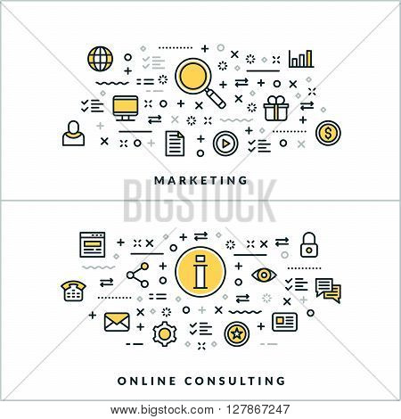 Vector Thin Line Marketing and Online Consulting Concepts. Vector Illustration for Website Banner or Header. Flat Line Icons and Design Elements