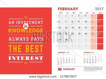 Desk Calendar Template For 2017 Year. February. Design Template With Motivational Quote. 3 Months On
