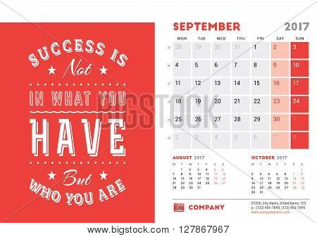 Desk Calendar Template For 2017 Year. September. Design Template With Motivational Quote. 3 Months O