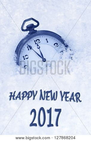 2017 New Year greeting card in English language pocket watch in snow