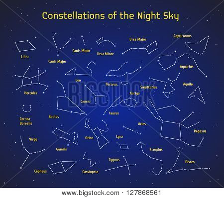 Big set of vector 28 constellations. Collection of zodiac constellations of the night sky. Elements for design flyers astronomical, astrological business cards, websites and packaging