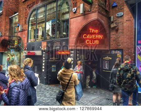 LIVERPOOL, UK, MAY 1 2016. Entrance to the Cavern Club in Mathew St, Liverpool.