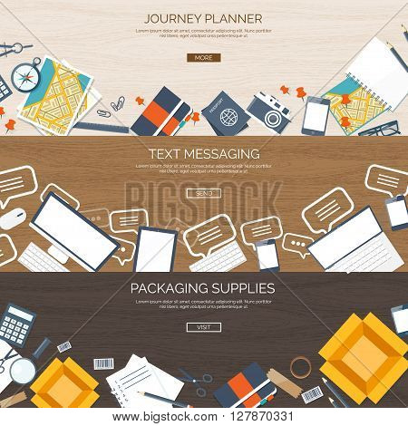 Flat backgrounds set. Journey planning. Travel,  summer holidays. Text messaging. Communication, chatting. Social network.Packaging supplies. Express and worldwide delivery.