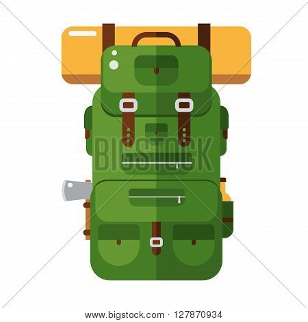 Tourist hiker backpack flat design icon. Adventure traveler backpacker rucksack cartoon pictogram for web an applications. Vector hiking bag isolated on white background in natural colors.