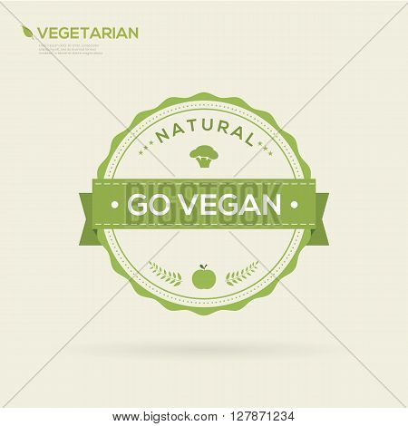 Go vegan Organic food label. Vector Illustration