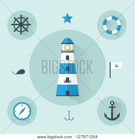 Flat Sea Blue Icons set Vector Illustration