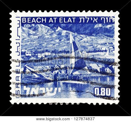 ISRAEL - CIRCA 1971 : Cancelled postage stamp printed by Israel, that shows Beach at Elat.