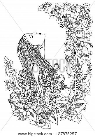 Vector illustration zentangl woman in flowers. He looks up profile portrait doodle frame owl dudling flowers zenart. Coloring anti stress for adults. Adult coloring book