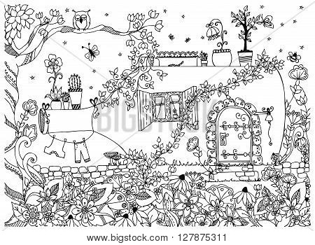 Vector illustration zentangl house in a bottle. The tale doodle zenart. House fabulous door. Anti-stress. Black and white. Adult coloring book.