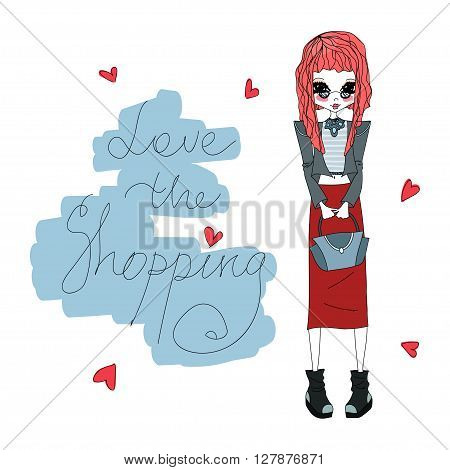 Cute Colorful Vector Love the Shopping Fashion Illustration with a Cute Colorful Fashion Girl Stylish Fashion Brands Clothes Accessories for Fashion Magazine Books Web Fashion Design Illustration