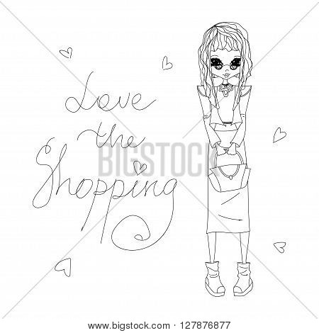Cute Sketch Vector Love the Shopping Fashion Illustration with a Cute Sketched Fashion Girl Stylish Fashion Brands Clothes Accessories for Fashion Magazine Books Web Fashion Design Illustration