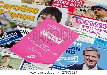 LONDON UK - MAY 1 2016: Election leaflets publicising candidates for the Mayor of London election on Thursday 5th May 2016. Candidates include Sadique Khan Zac Goldsmith Caroline Pidgeon and Sian Berry.