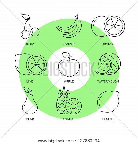 Organic fruit thin line icons set. Exceptional elegant linear logo concept. 
