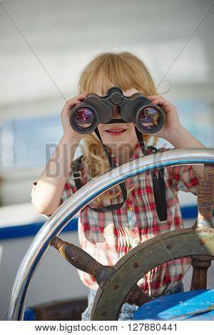 photo of little sweet girl on yacht