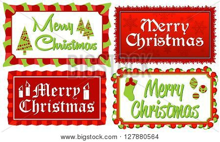 Set of four Merry Christmas typographic banners in red and green framed with stylized borders