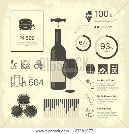 Premium quality thin line vintage wine infographic. Web graphics linear icons set. 