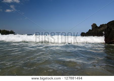 Break Between Quiet Waters And Surf At Puako Beach