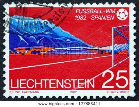 LIECHTENSTEIN - CIRCA 1982: a stamp printed in Liechtenstein shows Mauren Sport Arena 1982 Sport Cup circa 1982