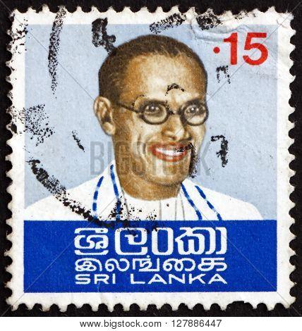SRI LANKA - CIRCA 1974: a stamp printed in Sri Lanka shows S.W.R.D. Bandaranaike was the fourth Prime Minister of Ceylon circa 1974
