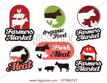 farm vector logo. meat, food or livestock breeding icon