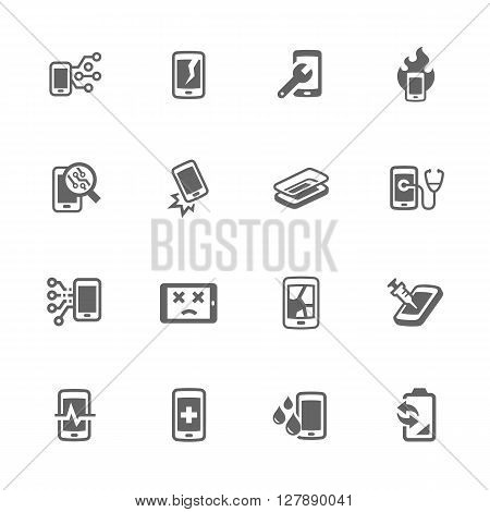 Simple Set of Smart Phone Repair Related Vector Icons. Contains Such Icons as Screen Crack, Protective Glass, Battery Replacement, Diagnose and More.