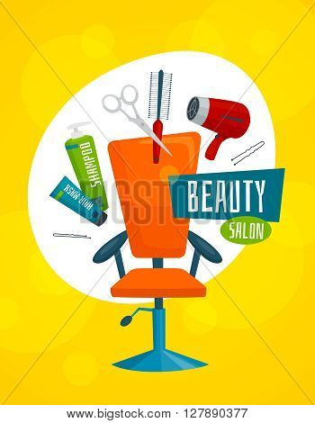 Beauty salon poster template with hair care tools, cartoon vector illustration