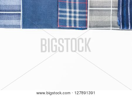 colorful handkerchief row for daily use on the white background.