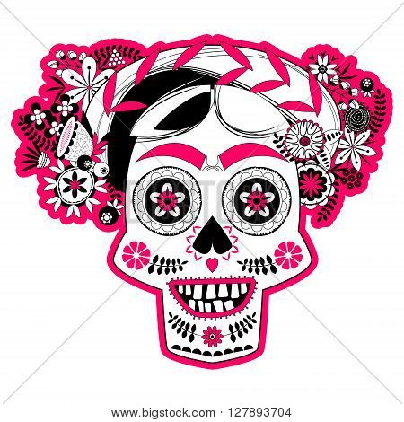 Smiling skull with a flower decorated hairdo. La Calavera Catrina. Mexica. Black white and pink. Vector illustration