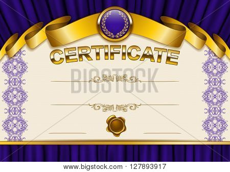 Elegant template of certificate, diploma with lace ornament ribbon, wax seal drapery fabric place for text. Certificate of achievement education awards winner Vector illustration EPS 10