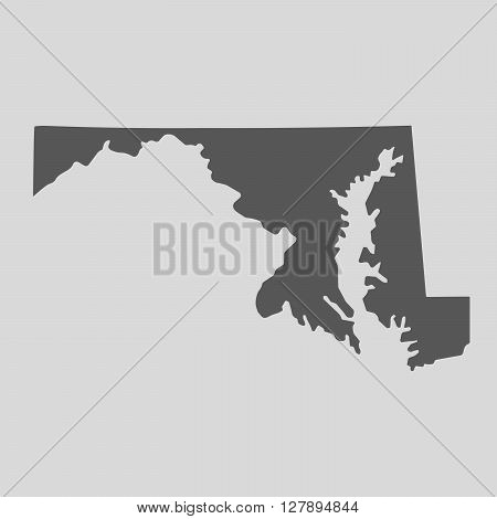 Black map of the State of Maryland - vector illustration. Simple flat map State of Maryland.