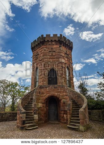 Laura's Tower, Shrewsbury castle on a bright spring day, Shropshire, England, UK