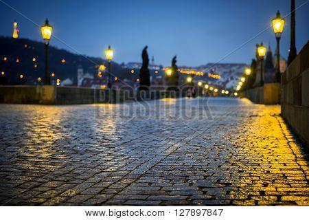 Charles Bridge in Prague at dawn Czech Republic in black and white