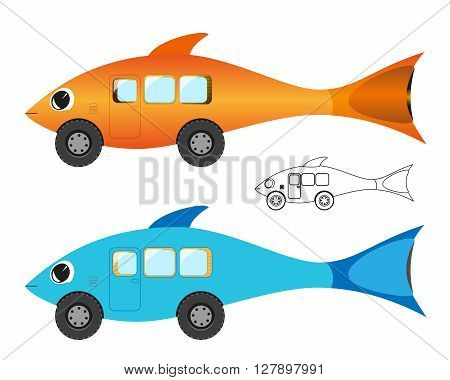 Creative illustration of cartoon fish bus. Three design style.