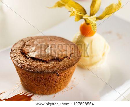 Delicious Chocolate Mousse With Vanilla Ice Cream