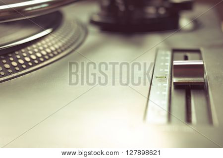 Pitch Control In Focus On Vinyl Player