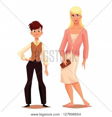 Transgender men women, dress boy, mens clothing on girl, a mismatch of social biological gender, human uncertainty in choice of sexuality, illustration, cartoon characters on a white background