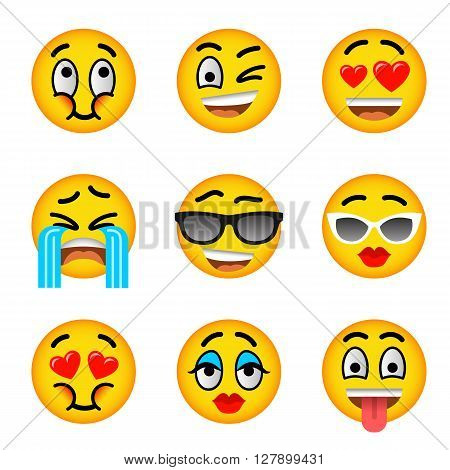 Smiley face flat vector icons set. Emoji emoticons. Facial emotions and expression symbols. Cute cartoon illustrations of mood and reactions for text chat and web messenger. Yellow ball character