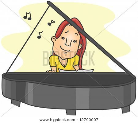 Illustration of a Woman Playing the Piano by Ear