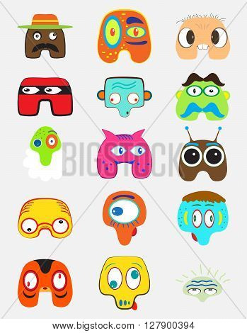 Set of funny monsters character. Cartoon color style for funny situations