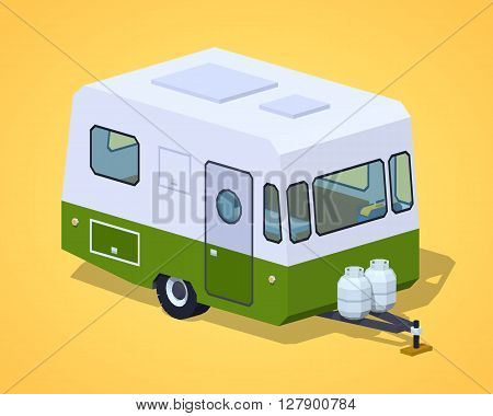 Retro motor home against the yellow background. 3D lowpoly isometric vector illustration