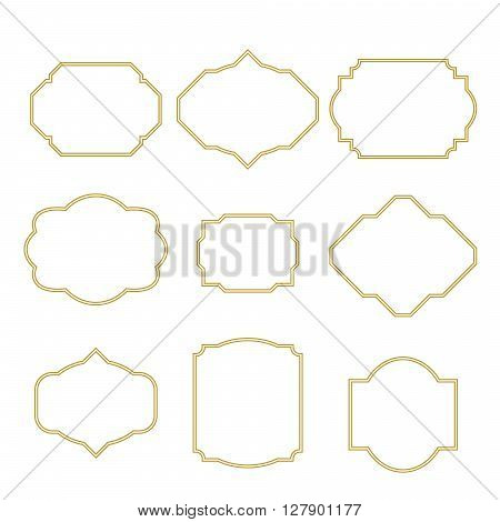 Gold border white empty frame set for cards. Frame templates for greetings, wedding, birthday feast events.