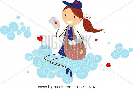 Illustration of a Mailwoman Holding a Love Letter