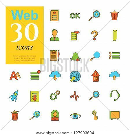 Set of color web icons for internet services. 30 icons high quality, vector illustration.