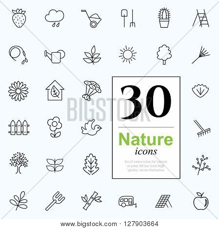 Set of nature icons for web or services. 30 design eco line icons high quality, vector illustration.