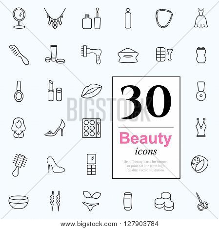 Set of beauty icons for web or services. 30 design female line icons high quality, vector illustration.