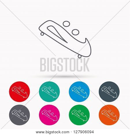 Bobsleigh icon. Two-seater bobsled sign. Professional winter sport symbol. Linear icons in circles on white background.