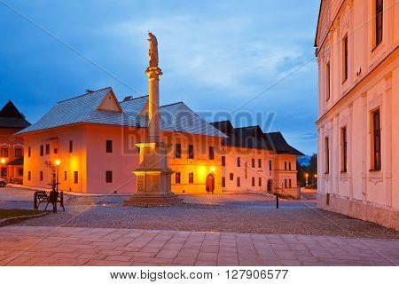 Monument and characteristic architecture in the square of Spisska Sobota, Slovakia.