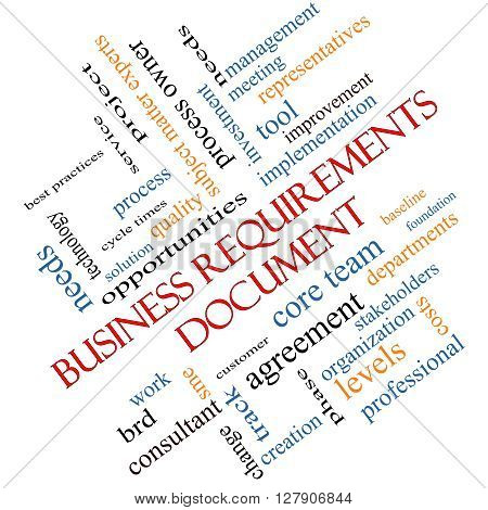 Business Requirements Document Word Cloud Concept Angled